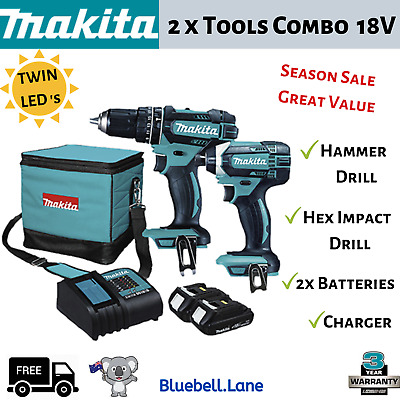 AU357 • Buy New Makita 18V Cordless 2 Piece Tools Combo Kit Hammer Drill And Impact Drill