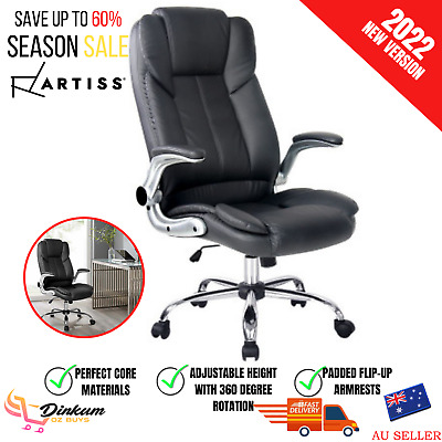 AU203.16 • Buy Artiss Executive Office Desk Chair Gaming Computer Chairs Leather Seating Black