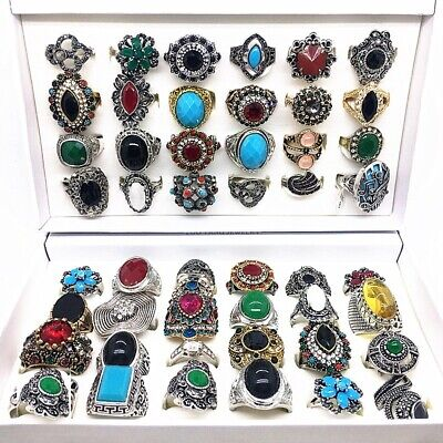 $ CDN37.38 • Buy 24pcs/Lot Mix Styles Women Men Vintage Jewelry Rings Antique Silver Gold Plated