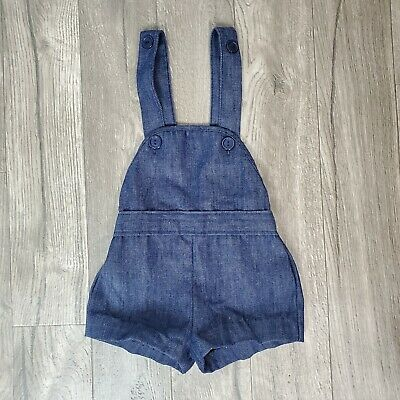 AU25.51 • Buy Vintage 70s Sears 3T Chambray Overall Shorts Bibs