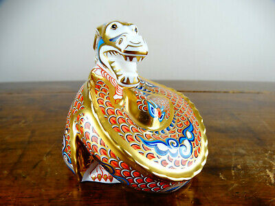Royal Crown Derby Imari Paperweight Chinese Dragon Of Happiness Gold Stopper • 5.50£