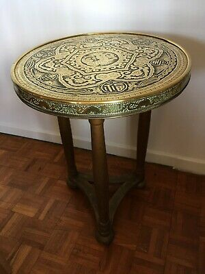 Antique Brass Far East 3-legged Table, Chinese Dragons, Birds, Characters • 57£
