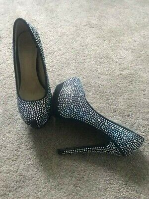 Stunning Sexy Black Silver Diamante Sparkle Shoes Size 5 High Heels Gems Diamond • 9.99£