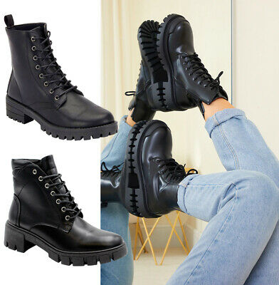 £16.95 • Buy Ladies Lace Up Ankle Boots Chunky Platform Womens Biker Combat Zip Up Shoes Size