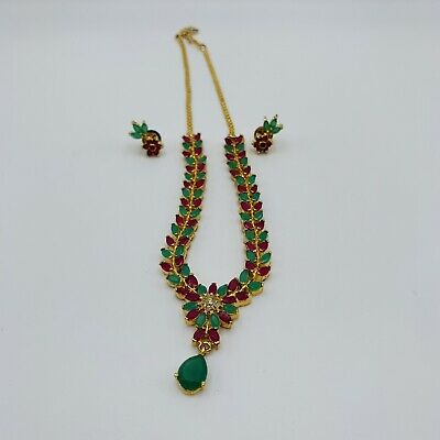 $18.99 • Buy Indian Bollywood Diamante Green Gold Tone Bridal Jewelry Set Necklace Earrings