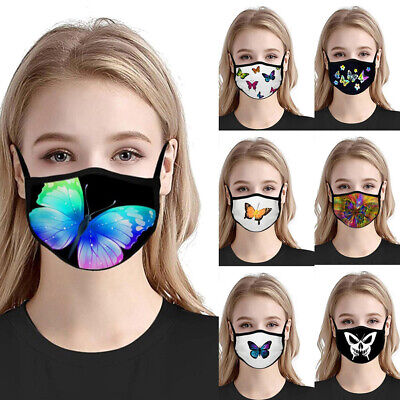 $ CDN8 • Buy Cy_ Fashion Women Butterfly Pattern Anti Haze Breathable Half Face Cover Mouth M