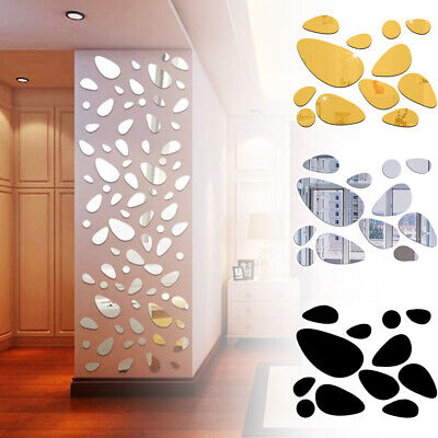 12x Self-adhesive 3D Pebble Decals Mirror Surface Wall Stickers Vinyl Mural Art • 4.10£