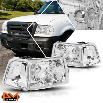 $85.89 • Buy For 01-11 Ford Ranger Truck Chrome Housing Headlight Clear Side Corner Lamp Pair