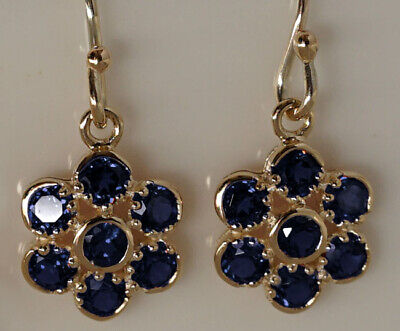AU428.93 • Buy E116 Genuine 9ct Yellow Gold NATURAL Blue Sapphire Blossom Flower Drop Earrings