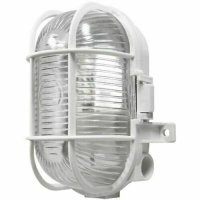 White Oval Outdoor Bulkhead Light Vandal Resistant Caged Wall Lantern IP44  • 7.60£