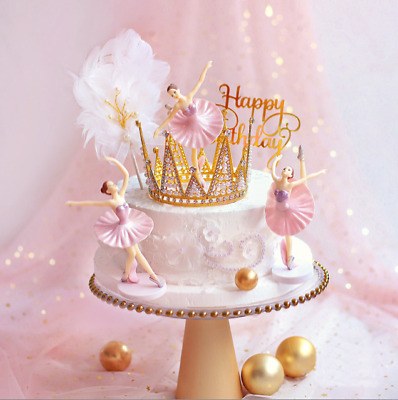 3 PCS Ballet Cake Scene Birthday Decorations Toppers STAND UP Figure Decoration • 7.99£