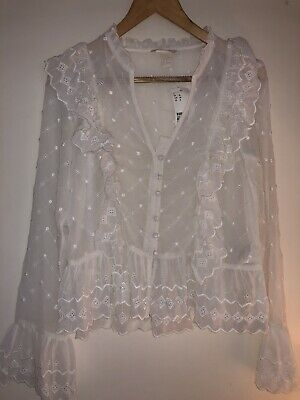 H&M Cream Embroidered Ruffle Blouse Shirt Victorian Edwardian Size 10 38 BNWT • 9.50£