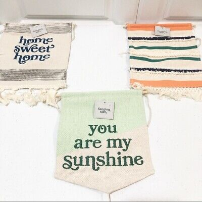 Set Of 3 Hanging Canvas Signs - Home Sweet Home, You Are My Sunshine Home Decor • 7.50£