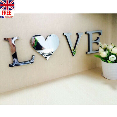 LOVE/HOME 4 Letters Self-Adhesive Mirror Tiles Furniture Wall Sticker Decor B2ZX • 2.28£