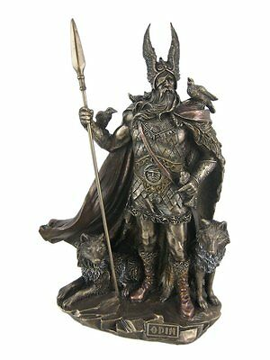 Norse God Odin Standing W/ Wolves & Crows Sculpture Statue Viking Figure *MINT* • 48.11£