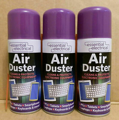 3 X Compressed Gas Air Duster Cleaner Can Laptop Keyboard Mouse Key Pad Printer • 6.99£