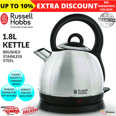 AU59.35 • Buy 1.8L Russell Hobbs Electric Cordless Dome Kettle Pull Off Lid Stainless Steel