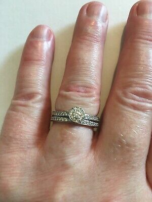 £55 • Buy Ti Sento Engagement/wedding/stacking Ring Set, Sterling Silver/cz Size 52/L-L.5