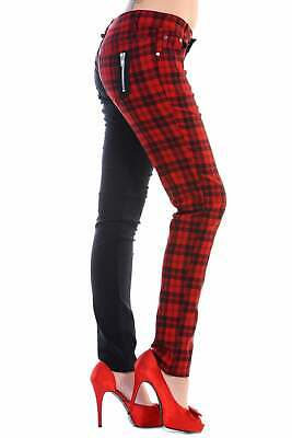 Half Black Red Tartan Check Punk Stretch Rockabilly PLUS SIZE Trousers By BANNED • 24.99£