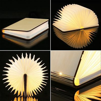 Creative USB Wooden Folding Book-Shaped Lamp LED Night Art Decorative Lights UK • 9.99£
