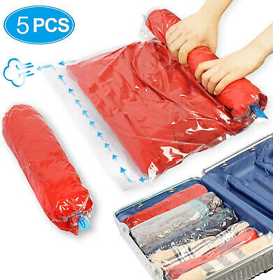 £4.99 • Buy 5Pcs Roll Up Compression Vacuum Storage Bags Travel Home Luggage Space Saver Bag