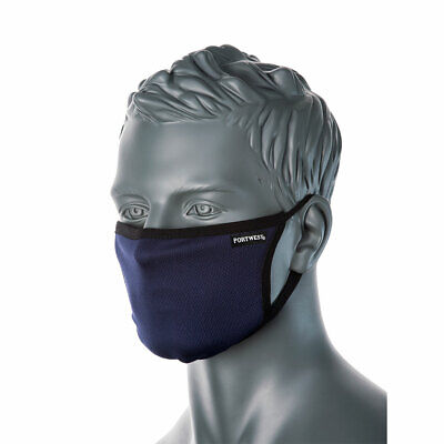 PORTWEST CV33 - 3-Ply Anti-Microbial Fabric Face Mask - Washable • 3.99£