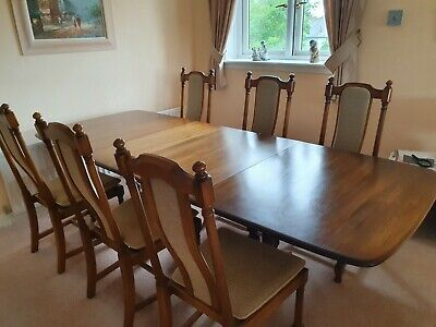 Ercol Dorchester Elm Extending Refectory Dining Table Seats 8-10 & 6 Chairs • 500£