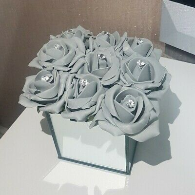Artificial Grey/silver Roses Flowers Arrangement In Cube Mirrored Vase Hat Box • 19.99£