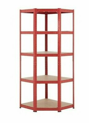 BiGDUG Red 5 Tier Metal Corner Shelving Unit | Boltless Garage Shed Storage • 77.99£