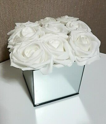 ARTIFICIAL WHITE FLOWERS IN MIRROR CUBE GLASS VASE CENTREPIECE H14cm • 19.99£