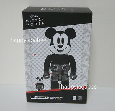 $270 • Buy *A BATHING APE × BEARBRICK X MICKEY MOUSE 400% + 100% Set Bearbrick Monotone New