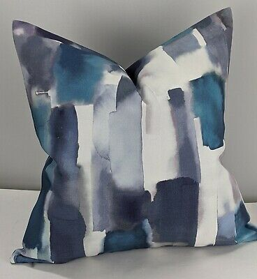 John Lewis & Partners LIVIA Fabric Handmade Cushion/Pillow Cover Peacock Blue • 10.99£
