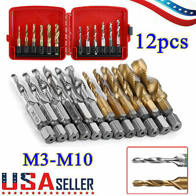 $19.47 • Buy 12pcs M3-M10 Hex Shank Metric & Inch Drill Tap And Die Set Thread Edge Holder US
