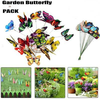 50Pcs Colorful Garden Butterflies Stakes Patio Home Ornaments On Sticks UK • 5.29£