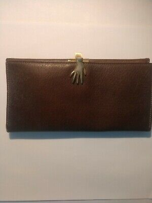 $195 • Buy Vintage Gucci Brown Leather Hand Clasp Clutch Wallet (pre Owned)