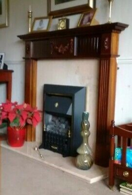 Coal Effect Gas Fire, Marble Back & Hearth, Wooden Mantle. Fireplace Package. • 40£