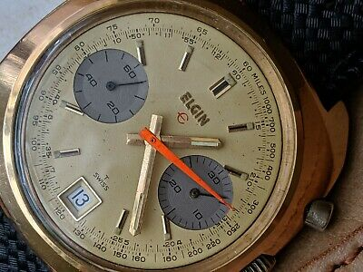 $ CDN1593.41 • Buy Vintage Elgin Chronograph W/Divers Tropic Band,Valjoux 7734 Mvmt,Runs Strong