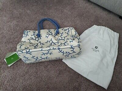 $ CDN60.65 • Buy Authentic Kate Spade Blue And Cream Colored Tote Bag EUC
