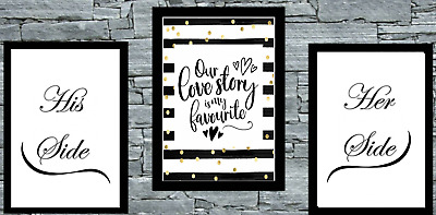 Set Of Wall Art Prints Bedroom Poster Black Gold Love His/Her His/His Hers/Her • 8.50£