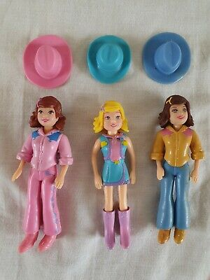 £5.99 • Buy POLLY POCKET Dolls From 2000's X3 Cowgirl Dressed Figures - USED
