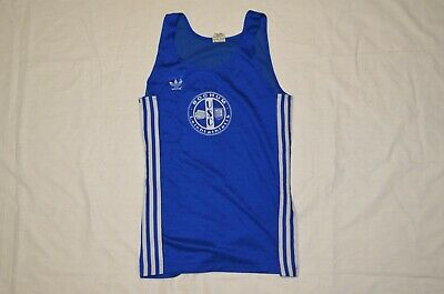 Vintage Adidas Running Made In West Germany Vest Lg Usc Bochum Blue Size 6 Dnk • 40£