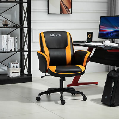 PU Leather Tub Seat Gaming Chair W/ Yellow Panels Wheels Mid-Back Black&Yellow • 85.99£