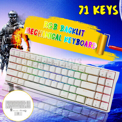 AU78.86 • Buy RK71 Dual Mode Bluetooth USB Wired RGB Mechanical Gaming  Keyboard 71 Keys