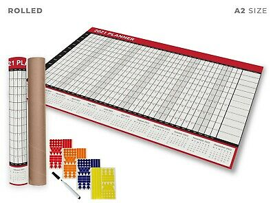 2021 A2 Size Full Year Wall Planner Calendar Home Office Work JAN - DEC ROLLED  • 5.99£