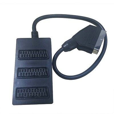 3 Way Scart Lead Cable Wire Splitter Switch Box Adapter Extension TV DVD VIDEO • 4.49£