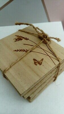 £7 • Buy Four Wooden Butterfly Coasters 10cm Wine Drinks Mat NEW