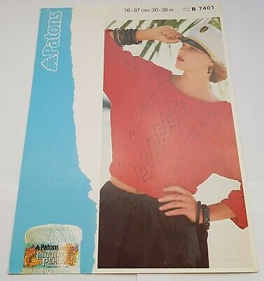 Vintage Patons Knitting Pattern Women's Cropped Cable Lace Panel Top • 2.99£