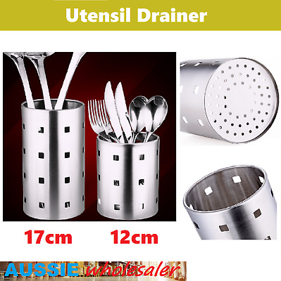 AU14.45 • Buy AU Stainless Steel Kitchen Dining Cutlery Utensils Stands Holder Drainer