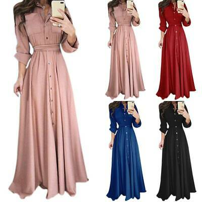 AU25.49 • Buy Women Long Sleeve Button Maxi Dress Office Ladies Casual Work Party Long Dresses