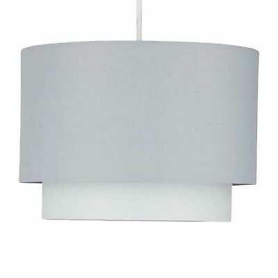 Grey Ombre Modern Ceiling Light Shade Pendant Easy Fit 2 Tier Fabric Lamp Shade • 14.99£